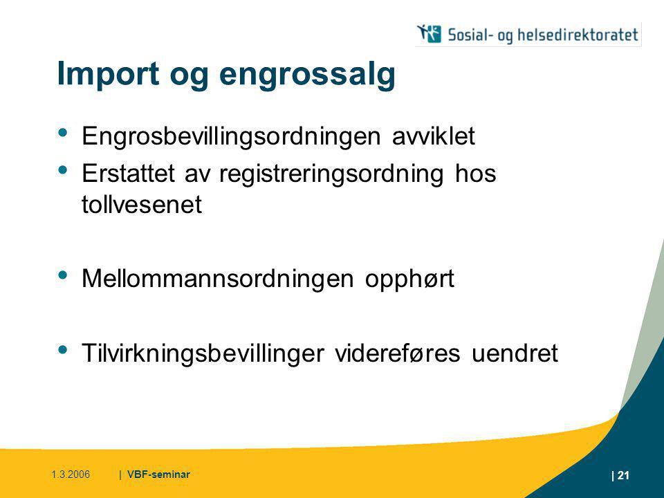 Import og engrossalg Engrosbevillingsordningen avviklet