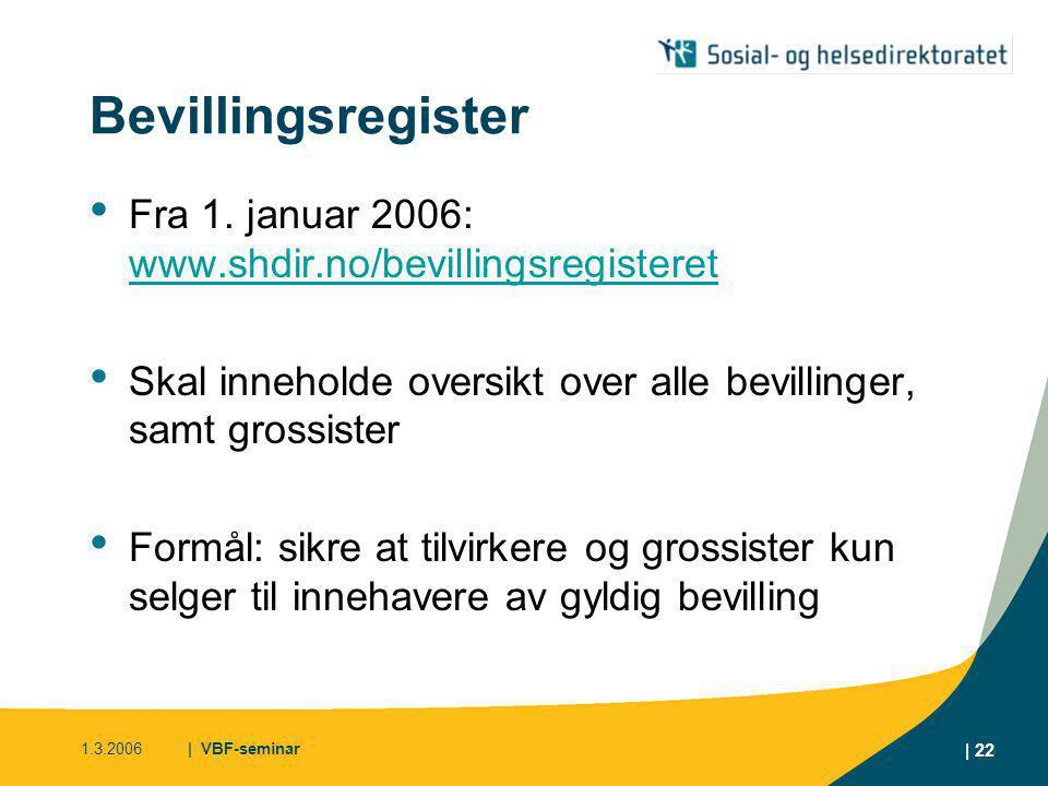 Bevillingsregister Fra 1. januar 2006: www.shdir.no/bevillingsregisteret. Skal inneholde oversikt over alle bevillinger, samt grossister.