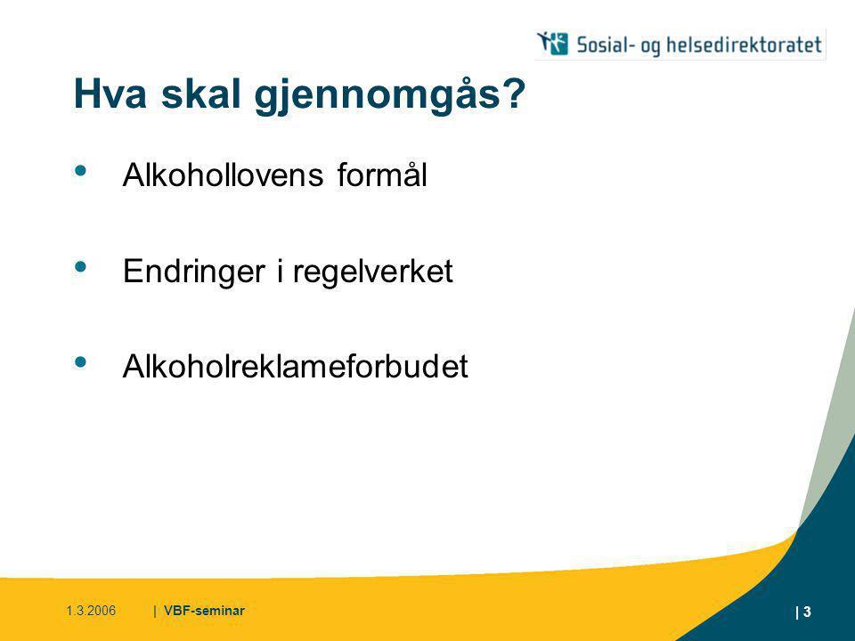 Hva skal gjennomgås Alkohollovens formål Endringer i regelverket