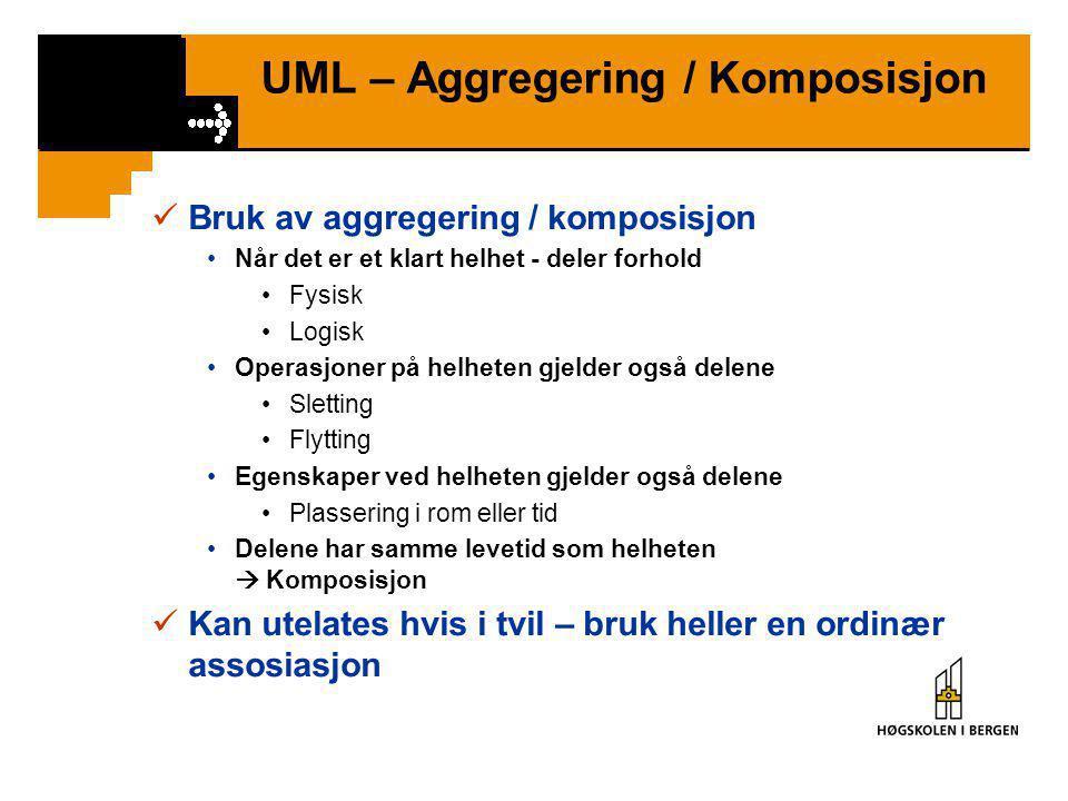 UML – Aggregering / Komposisjon