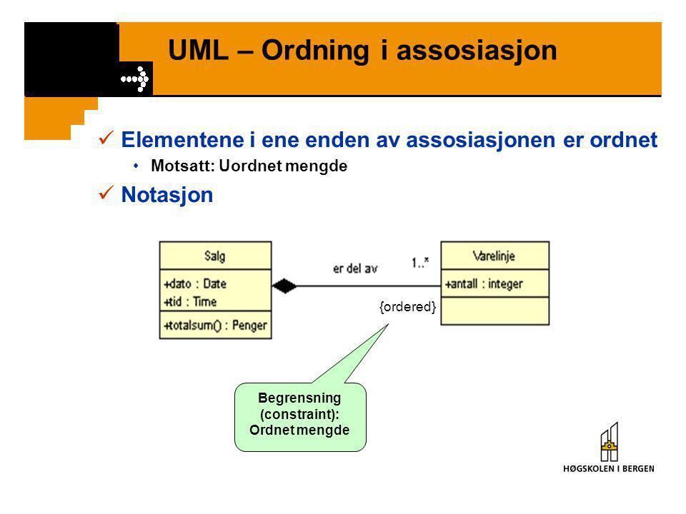 UML – Ordning i assosiasjon