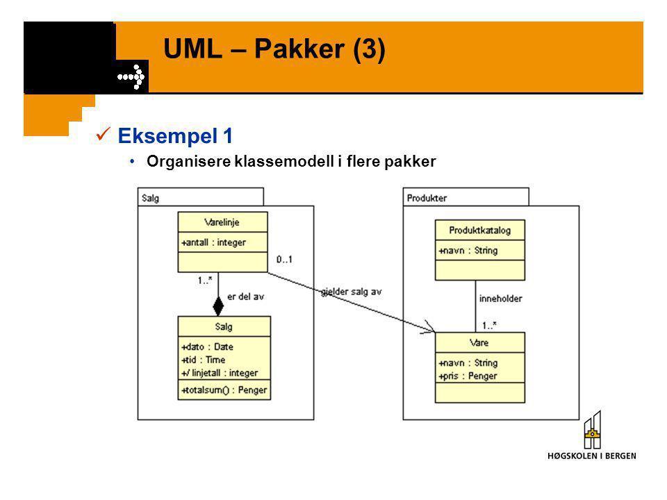 UML – Pakker (3) Eksempel 1 Organisere klassemodell i flere pakker