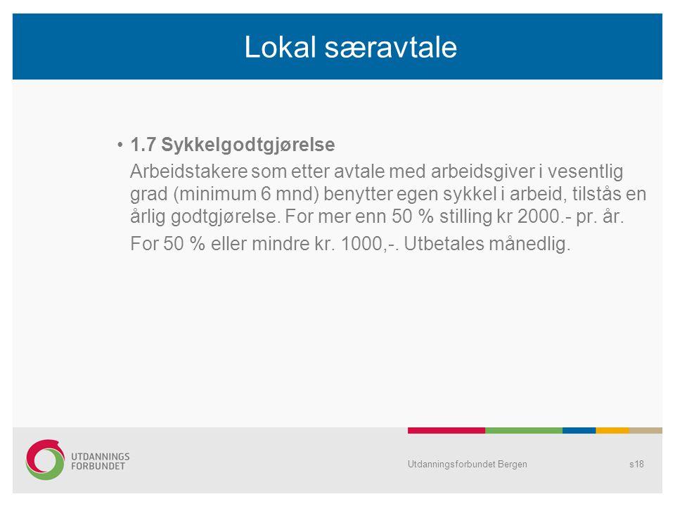 Lokal særavtale 1.7 Sykkelgodtgjørelse