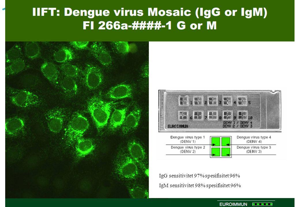 IgG sensitivitet 97% spesifisitet 96%