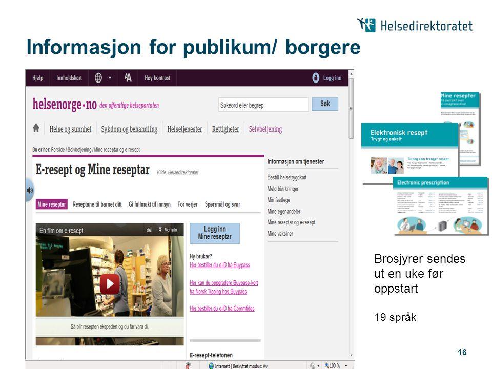 Informasjon for publikum/ borgere