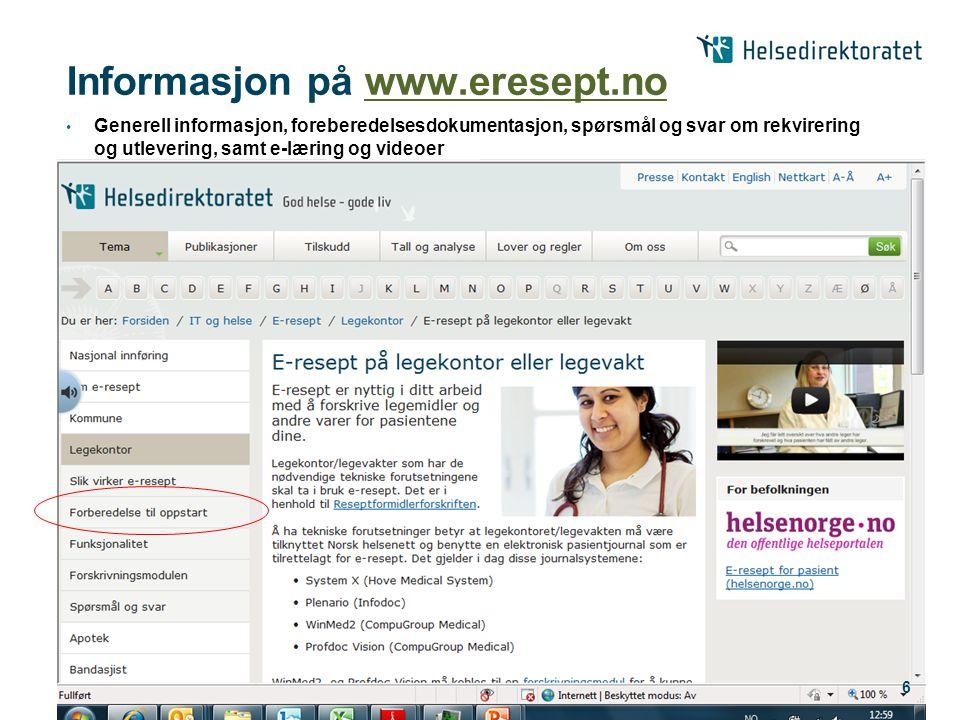 Informasjon på www.eresept.no