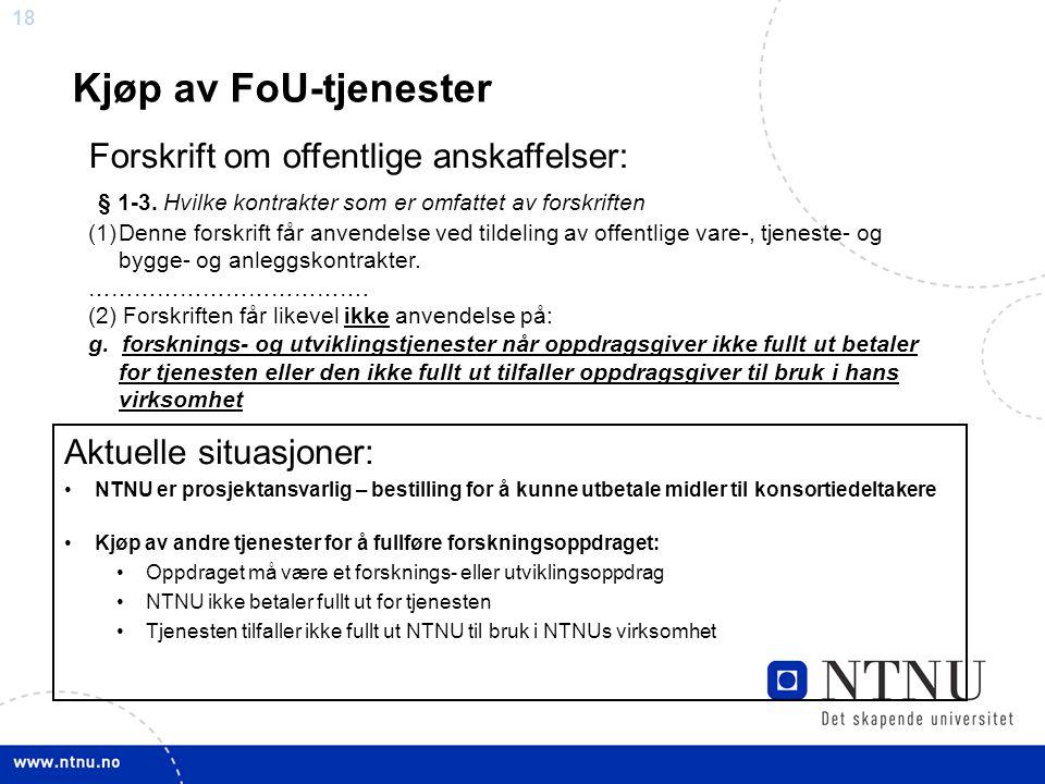 Kjøp av FoU-tjenester Forskrift om offentlige anskaffelser: