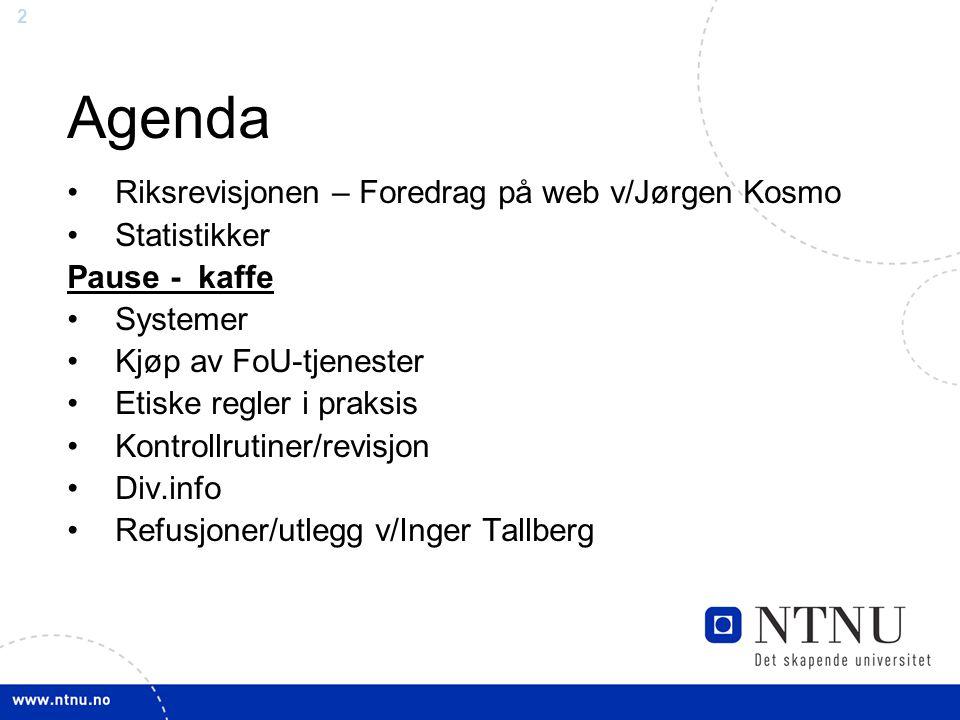 Agenda Riksrevisjonen – Foredrag på web v/Jørgen Kosmo Statistikker