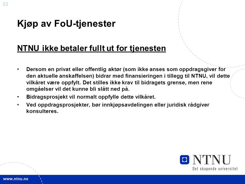 Kjøp av FoU-tjenester NTNU ikke betaler fullt ut for tjenesten