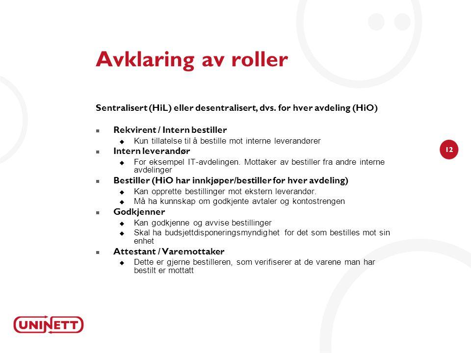 Avklaring av roller Sentralisert (HiL) eller desentralisert, dvs. for hver avdeling (HiO) Rekvirent / Intern bestiller.
