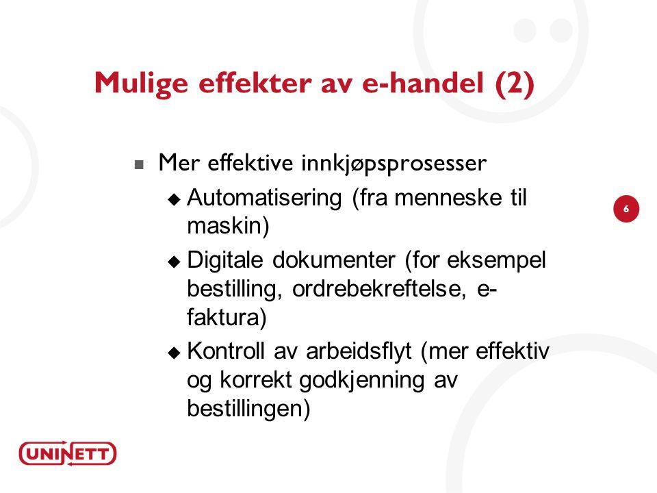 Mulige effekter av e-handel (2)