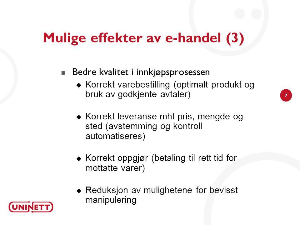 Mulige effekter av e-handel (3)