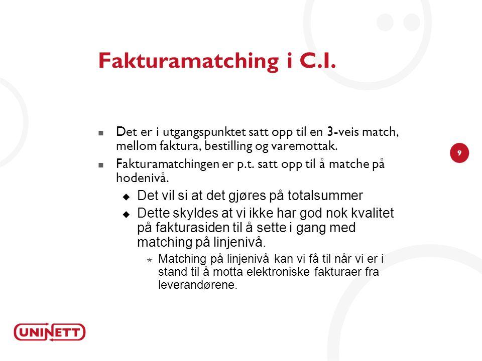 Fakturamatching i C.I. Det er i utgangspunktet satt opp til en 3-veis match, mellom faktura, bestilling og varemottak.