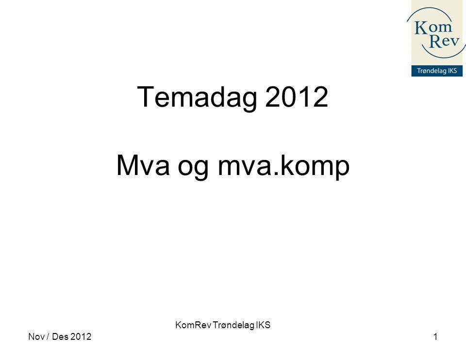 Temadag 2012 Mva og mva.komp Nov / Des 2012