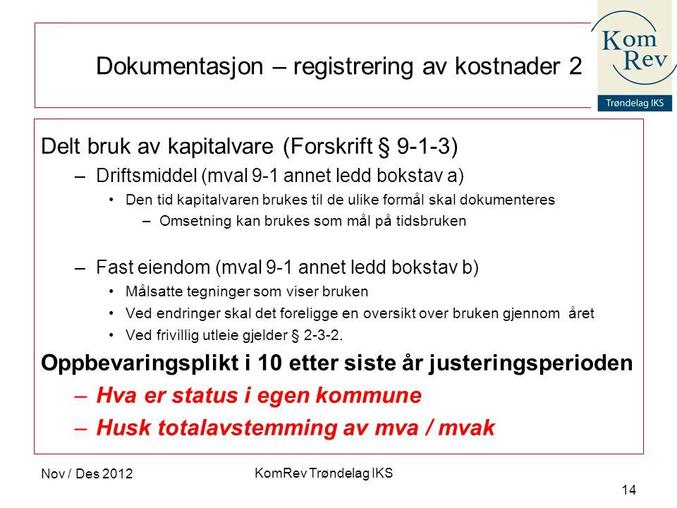 Dokumentasjon – registrering av kostnader 2