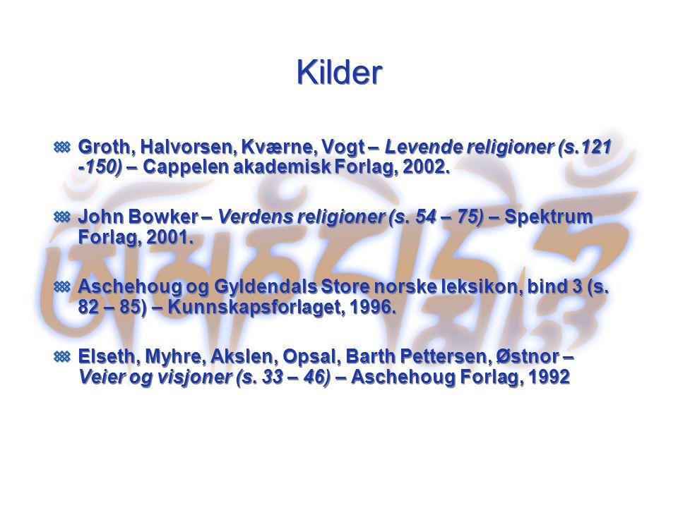 Kilder Groth, Halvorsen, Kværne, Vogt – Levende religioner (s.121 -150) – Cappelen akademisk Forlag, 2002.