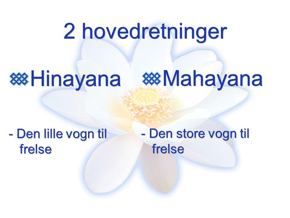 2 hovedretninger Hinayana Mahayana - Den lille vogn til frelse