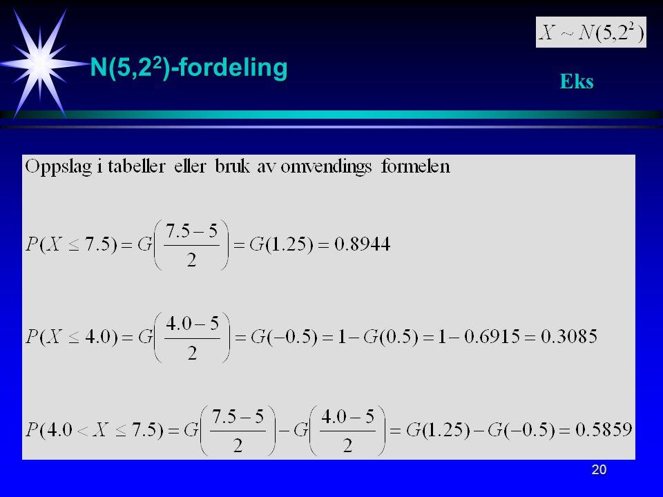 N(5,22)-fordeling Eks. Eksempel på sannsynlighetsberegninger i N(5,2^2) fordelingen.