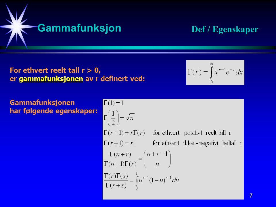 Gammafunksjon Def / Egenskaper For ethvert reelt tall r > 0,