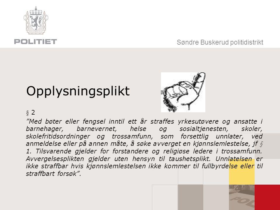 Opplysningsplikt Søndre Buskerud politidistrikt § 2