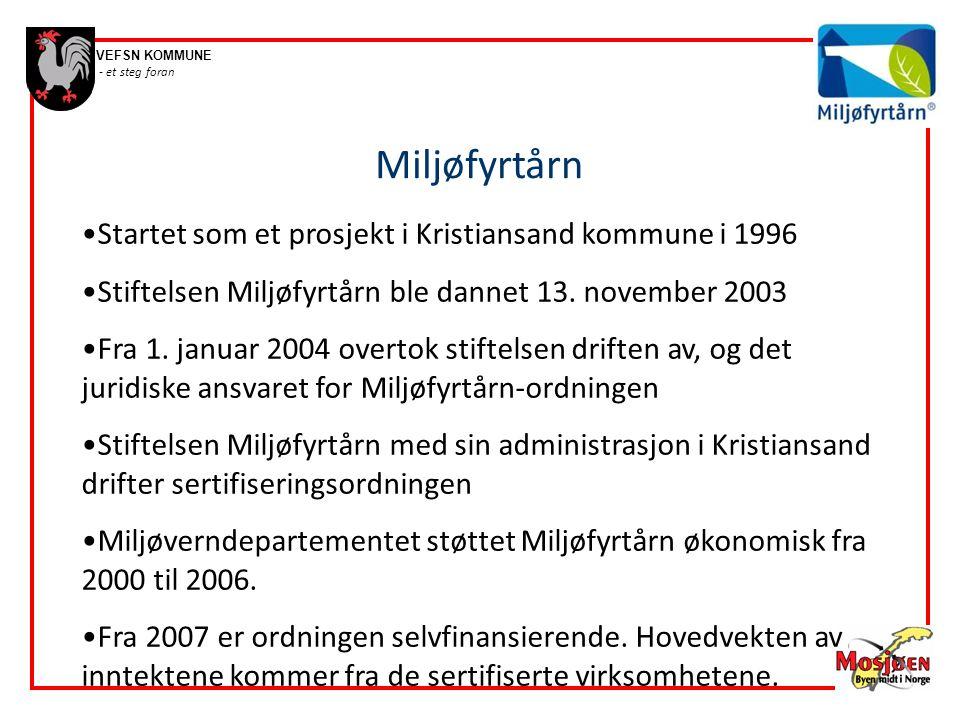 Miljøfyrtårn Startet som et prosjekt i Kristiansand kommune i 1996
