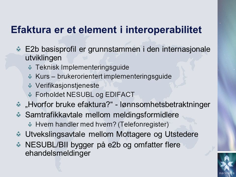 Efaktura er et element i interoperabilitet