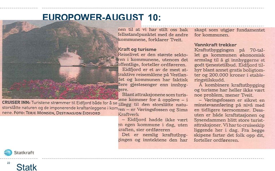 europower-august 10: Statkraft presentasjon