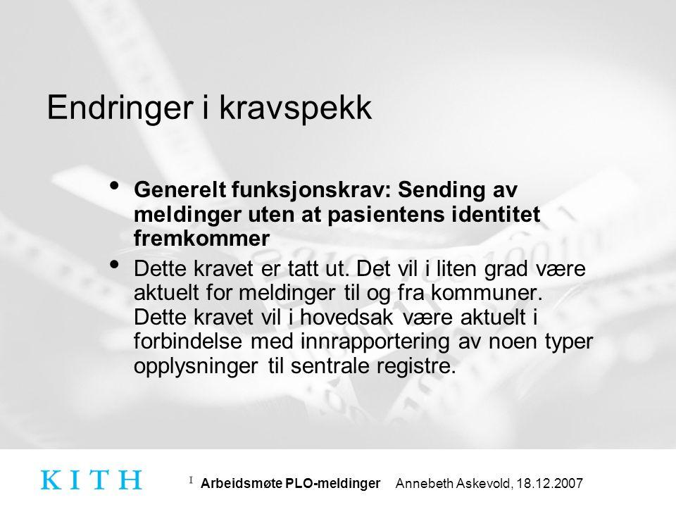 Endringer i kravspekk Generelt funksjonskrav: Sending av meldinger uten at pasientens identitet fremkommer.