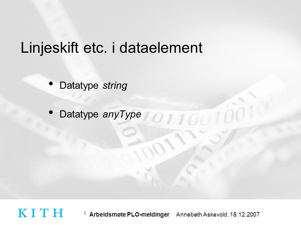 Linjeskift etc. i dataelement