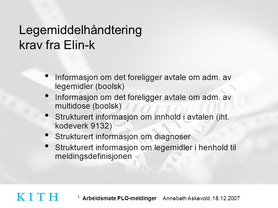 Legemiddelhåndtering krav fra Elin-k