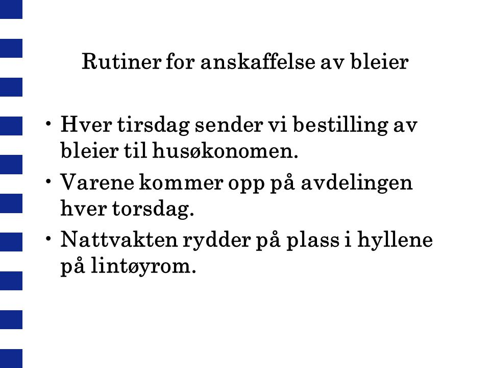 Rutiner for anskaffelse av bleier