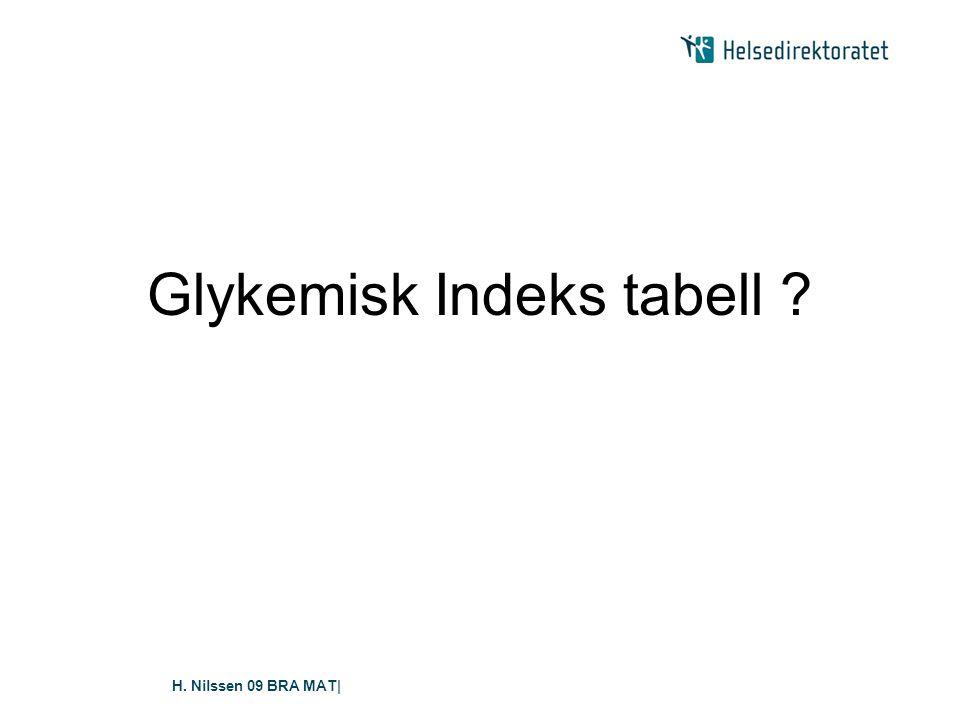 Glykemisk Indeks tabell
