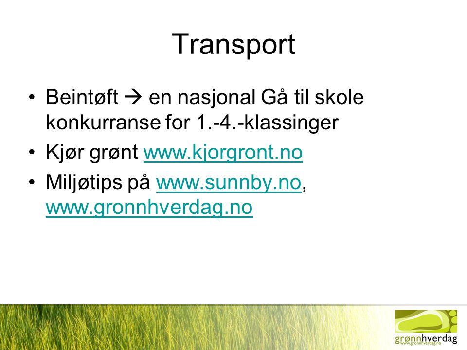 Transport Beintøft  en nasjonal Gå til skole konkurranse for 1.-4.-klassinger. Kjør grønt www.kjorgront.no.