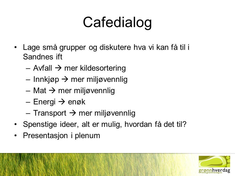 Cafedialog Lage små grupper og diskutere hva vi kan få til i Sandnes ift. Avfall  mer kildesortering.