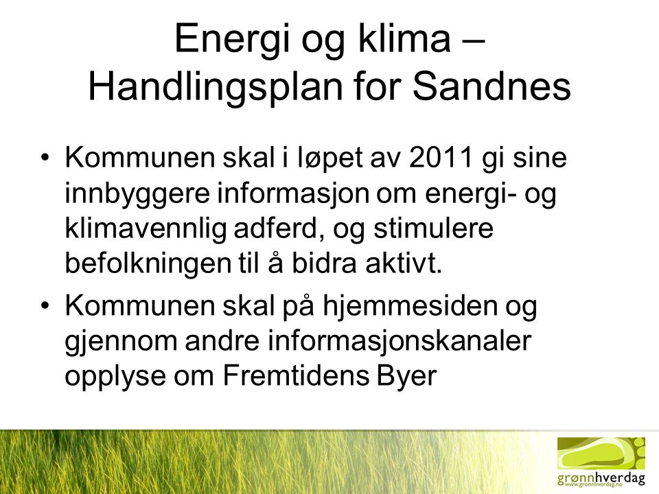 Energi og klima – Handlingsplan for Sandnes