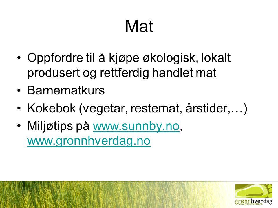 Mat Oppfordre til å kjøpe økologisk, lokalt produsert og rettferdig handlet mat. Barnematkurs. Kokebok (vegetar, restemat, årstider,…)