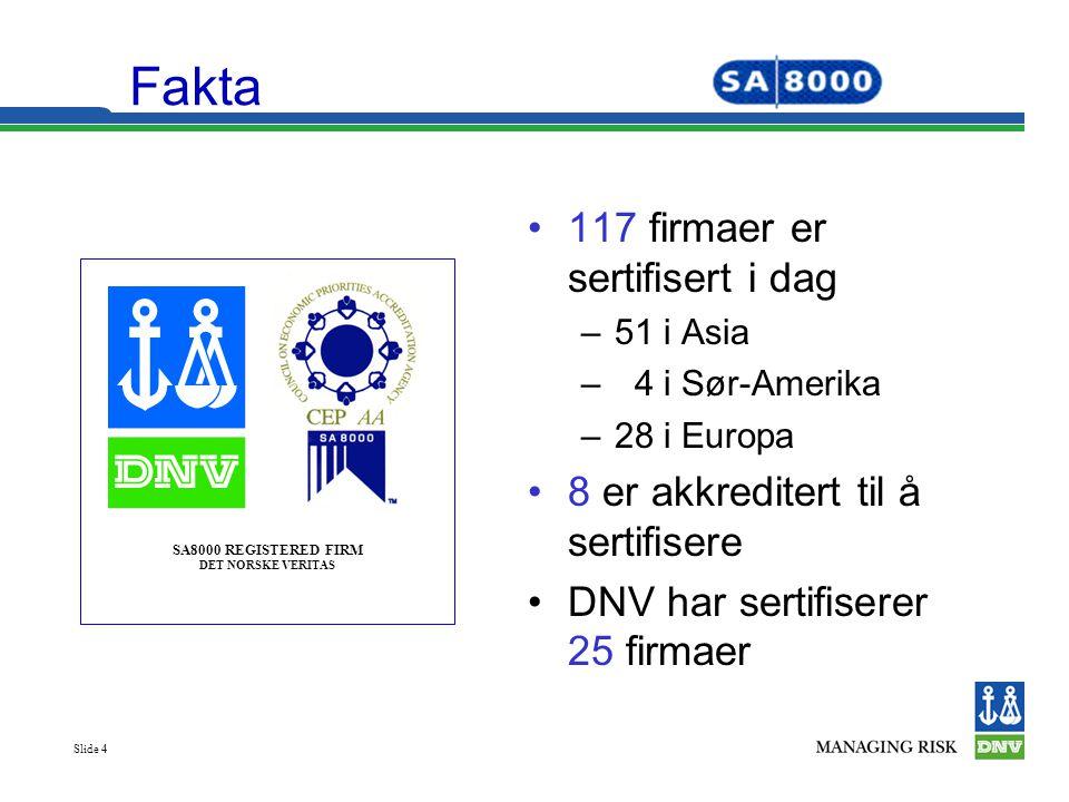 Fakta 117 firmaer er sertifisert i dag