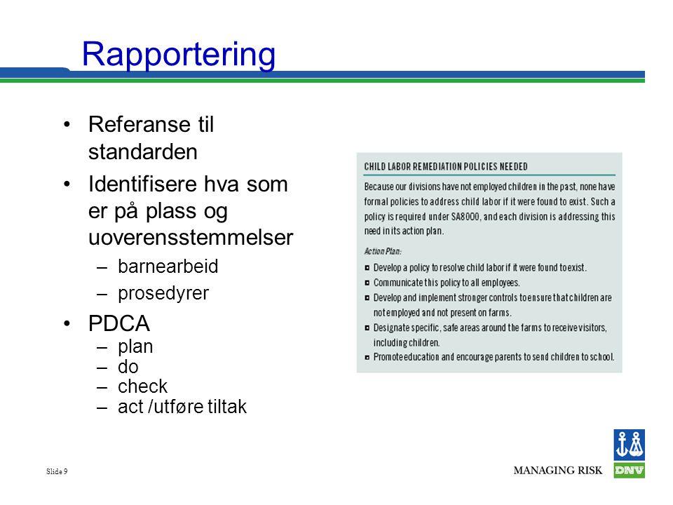 Rapportering Referanse til standarden