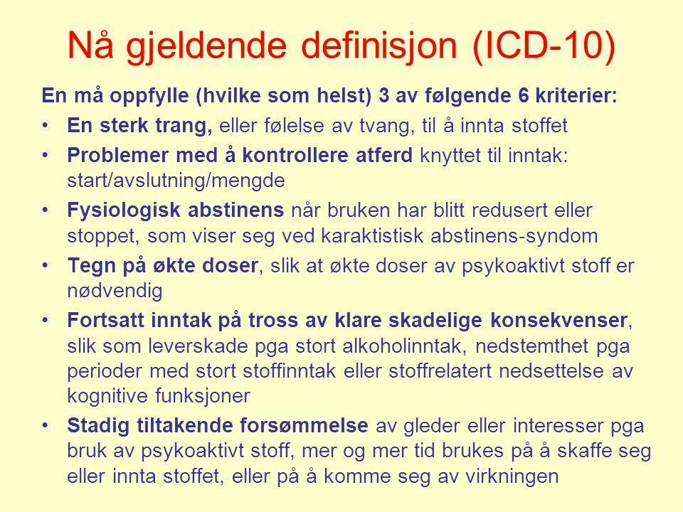 Nå gjeldende definisjon (ICD-10)