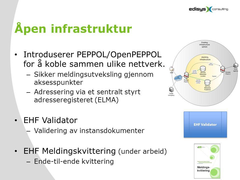 Åpen infrastruktur Introduserer PEPPOL/OpenPEPPOL for å koble sammen ulike nettverk. Sikker meldingsutveksling gjennom aksesspunkter.