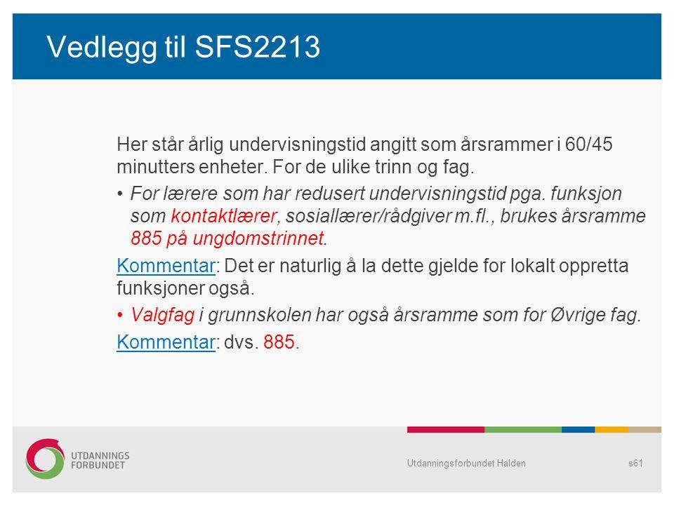 Vedlegg til SFS2213 Her står årlig undervisningstid angitt som årsrammer i 60/45 minutters enheter. For de ulike trinn og fag.