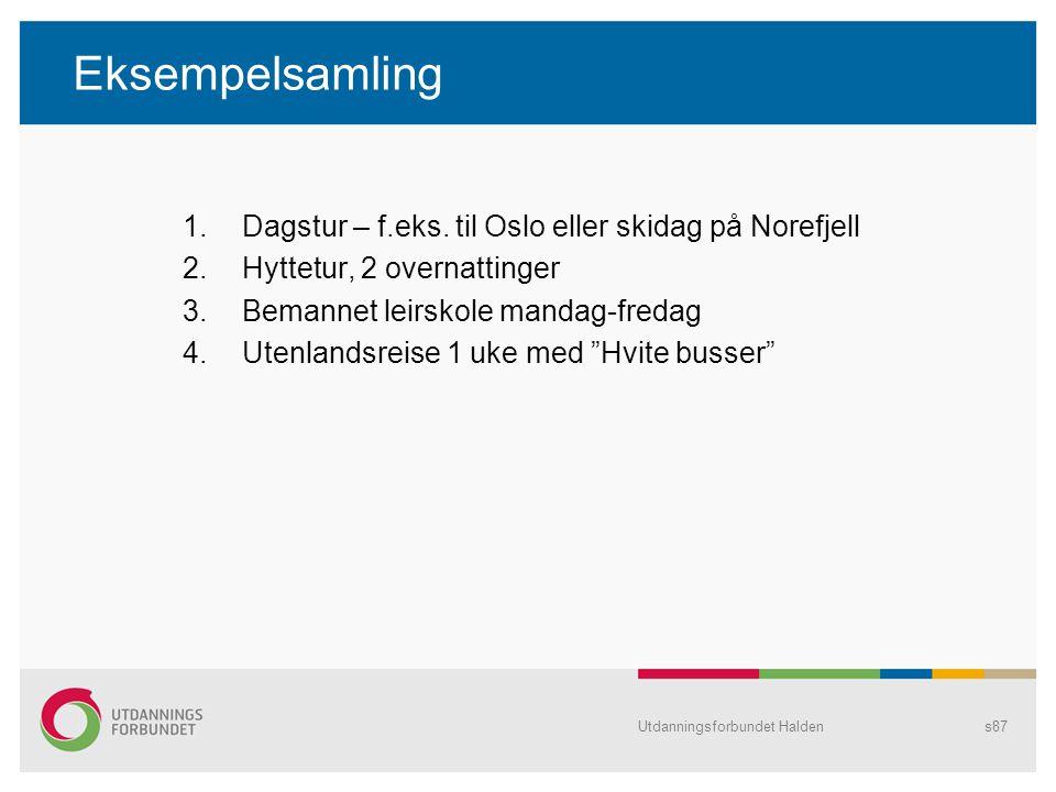 Eksempelsamling Dagstur – f.eks. til Oslo eller skidag på Norefjell