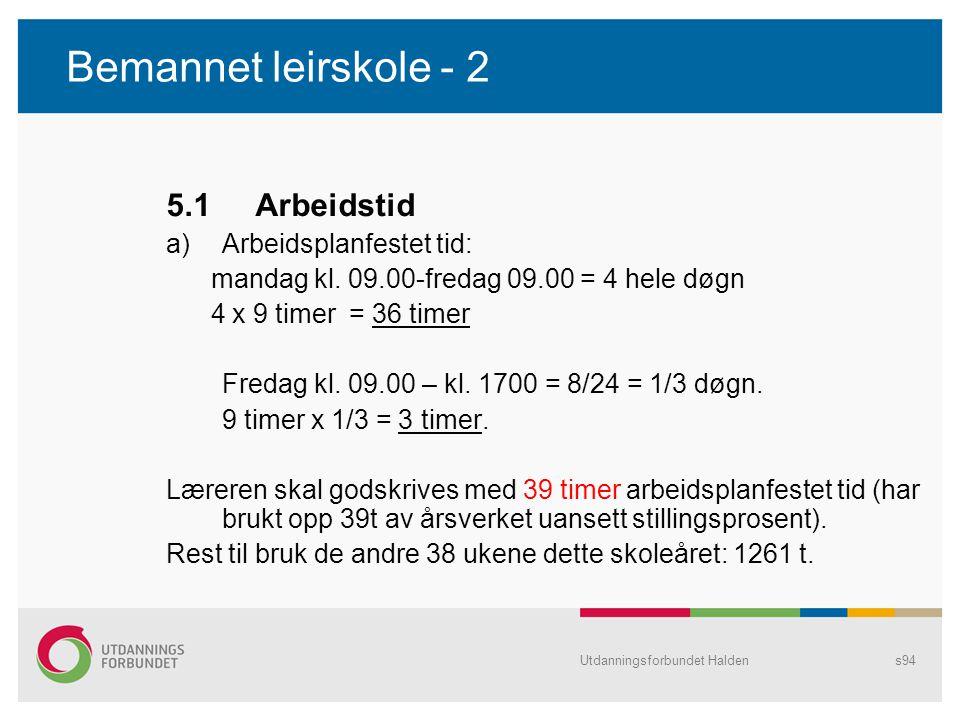 Bemannet leirskole - 2 5.1 Arbeidstid Arbeidsplanfestet tid: