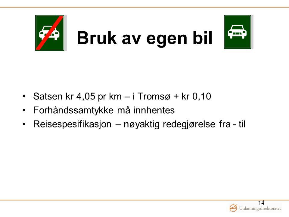 Bruk av egen bil Satsen kr 4,05 pr km – i Tromsø + kr 0,10