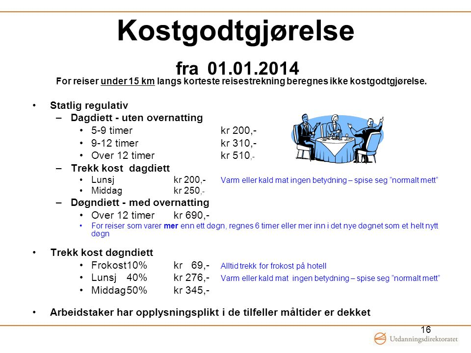 Kostgodtgjørelse fra 01.01.2014 Statlig regulativ