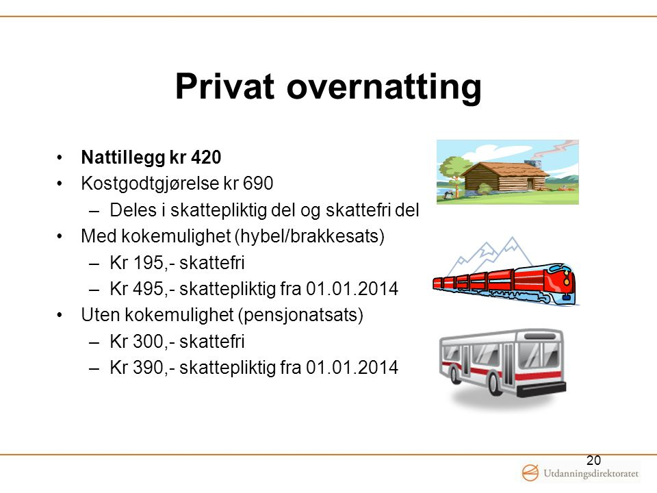 Privat overnatting Nattillegg kr 420 Kostgodtgjørelse kr 690