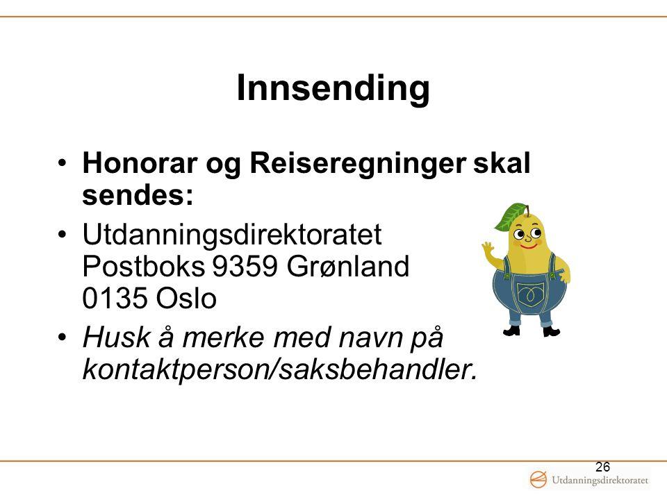 Innsending Honorar og Reiseregninger skal sendes: