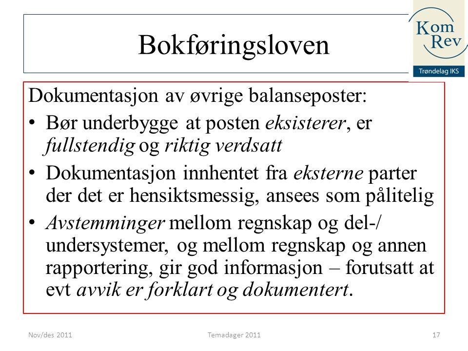 Bokføringsloven Dokumentasjon av øvrige balanseposter: