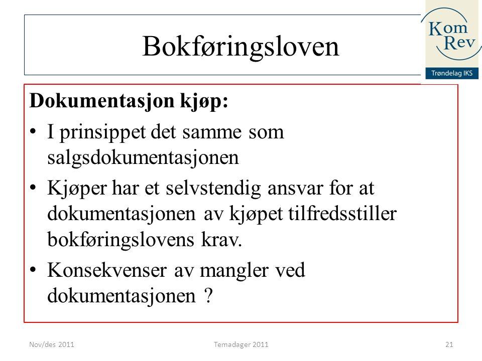 Bokføringsloven Dokumentasjon kjøp: