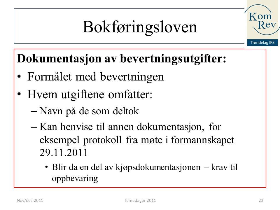 Bokføringsloven Dokumentasjon av bevertningsutgifter: